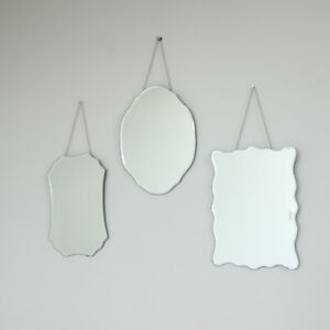 Set three 3 vintage style hanging wall mirror shabby vintage home chic frameless