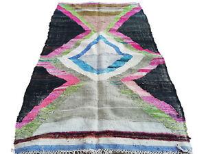 8.9 ft x 4.2 ft Boucherouite Morocco rug Kilim rug Berber handmade Azilal boujad