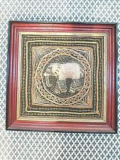 Framed used original hand made vintage Redish Art 3D picture elephant