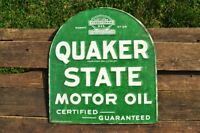 Quaker State Motor Oil Embossed Tin Metal Sign - Gasoline - Retro - Tombstone