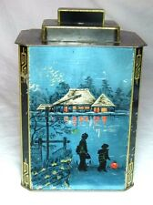 "RARE HUNTLEY&PALMERS ""JAPANESE TEA CADDY"" FANCY ART DECO BISCUITS TIN 1936"