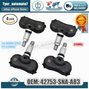 4x TPMS 42753-SNA-A83 Tire Pressure Sensor 315MHz for HONDA CIVIC FIT ELEMENT