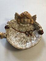 ANGEL TRINKET/CANDY DISH brown/white Glaze Mini Angel Doll on Side Soap Dish
