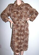 Exotic-Print Shirtwaist Dress Sz M Poly-Jersey LS Button-Front Belt DENNIS BASSO