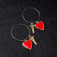 Women Girl Elegant Fashion Earrings Ear Stud Enamel Key Red Heart Jewelry