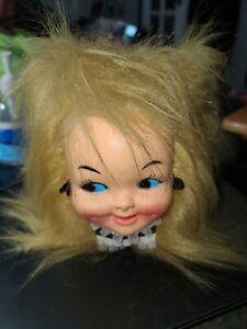 Vintage 1970's Baby Doll Head Face Blonde Hair Tissue Kleenex Box Cover Earrings