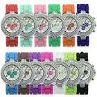 Geneva Women Ladies Fashion Crystal Dial Jelly Silicone Band Quartz Wrist Watch