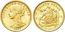 AC#YSD Chile 20 Pesos 1961. Fr. 56, KM 168. Gold coin