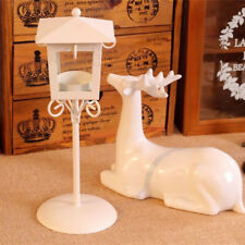 White Iron Glass Candle Holder Tea Light Stand Home Table Lantern Decor Gift