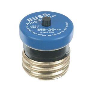 Bussmann BP/MB-20 20 Amp Edison Base Plug Fuse Circuit Breaker, 125V