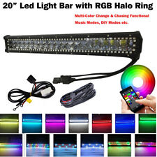 20inch 4D CREE Led Light Bar RGB Halo Ring Color Change Chase Wiring Bluetooth
