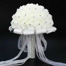 Artificial Fake Wedding Decor Bridal White Rose Flower Hand Bouquet Foam