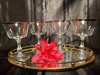 """Vintage Fostoria """"Sheffield Claret"""" Crystal Champagne / Sherbet Goblet ~Set of 4"""