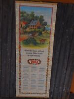 Wall Hanging Calendar 1983 Currier & Ives Bless this house Vintage roll up