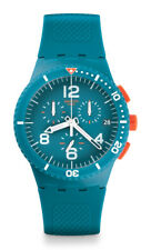 New Swatch Men SUSN406 Round Dial Chronograph Blue Band Quartz Date Watch
