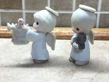 2 Precious Moments Ornaments-Nativity Angel Trumpet & Angel Holding Teddy Bear