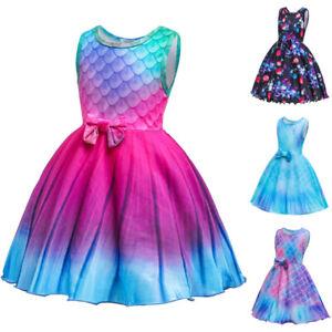 Girls Little Mermaid Princess Midi Dress Kids Sleeveless Bowknot Party Sundress