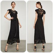 NWT BCBG MAXAZRIA Embroidered Chiffon Midi Black Dress Sz XS-$398