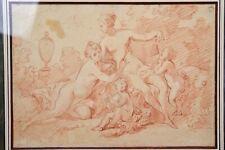 2 Nudes 18C Rococo Design Red Chalk Sketch Drawing attr. Antoine CALLET