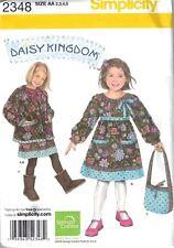 Childs Dress Jacket Bag Simplicity 2348 Girls Size 2-5 Toddler New Uncut