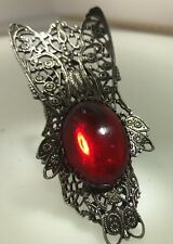 60s Huge Fly Style Ring Red Color Glass Silver Tone Kim Craftsmen