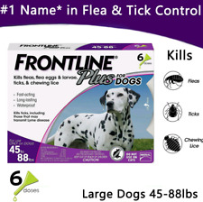 6 doses FRONTLINE PLUS for Dogs (45-88 lbs) Flea Tick Treatment Tick Control
