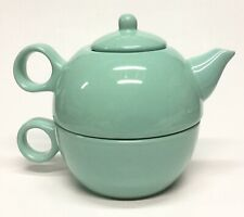 Tea For One, Turquoise Green Stackable Tea Set, Tea Pot with Cup