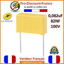 Condensateur MKP 0.082µF 100V 82nF 0.082uF 82000PF 823J100V Polypropylène