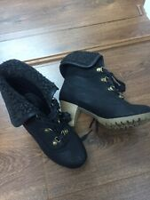 Goldigga Black Womens Ankle Boots With Fur Size:4