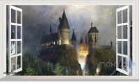 60X100cm Harry Potter Castle 3D Window Wall Decals Stickers Kids Party DIY Decor