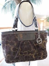 COACH OPTIC SIGNATURE GALLERY TOTE SHOULDER BAG PURSE F13762 BROWN