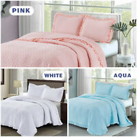 HIG 3 Piece Queen/King Size Embossed Quilt Set with Ruffled Flange (REYNA)