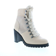 Frye Rayner Hiker 70766 Womens White Leather Suede Zipper Casual Dress Boots 9.5