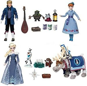 DISNEY STORE OLAF'S FROZEN ADVENTURE SINGING DOLL DELUXE GIFT SET ANNA ELSA NEW