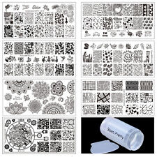 9pcs/set Geometry Floral Nail Art Stamping Plates Set with Clear Stamper Kit DIY