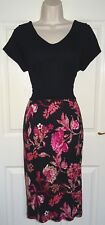 NEXT Black Pink Red Pencil Shift Bodycon Evening Occasion Jersey Dress Size 14