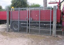 1 PAIR OF GALVANISED STEEL MESH - INDUSTRIAL YARD GATES  16FT WIDE WITH POSTS