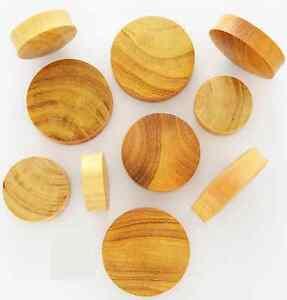 PAIR (2 pcs) Carved Organic Jackfruit Yellow Wood Flesh Ear Plugs No Metal