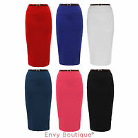 New Ladies High Waisted Belted Pencil Bodycon Skirt Womens Office Bandage 8-14