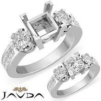 Natural Diamond Engagement 3 Stone Ring 18k White Gold Round Princess Mount 1Ct