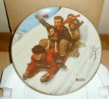 1St Ed Norman Rockwell 1975 Christmas Plate *Down Hill Daring*Joy Unconfined*