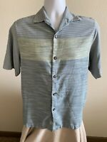 Tommy Bahama Men's Shirt 100% Silk  Blue Green Striped Size Small (S)