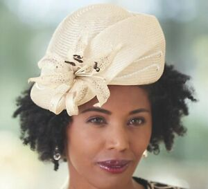 Ashro Jack McConnell Lily Flower Church Hat Natural Sunday Social
