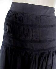 100% Silk SKIRT Black Smocked Pleats Calf Brown Sugar Size 14 Boho Party Hippie