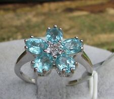 2.05 cts Genuine Blue Apatite Cluster Size 7 Ring in 925 Sterling Silver w Topaz