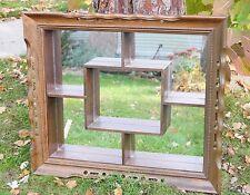Huge Vintage Midcentury Modern Shadow Box Wall Shelf Mirror Wood Frame Shadowbox