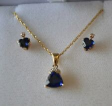 "10K Yellow Gold Sapphire Diamond Pendant Necklace 18"" & Earrings Set Rope GND"