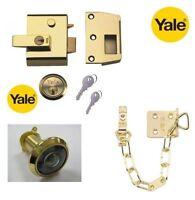 YALE P2 DOUBLE LOCKING 40mm LATCH NIGHTLATCH CYLINDER WITH CHAIN & SPY IN BRASS