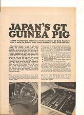 ORIGINAL VINTAGE 1967 TOYOTA 2000 GT AUSTRALIAN 4 PAGE FEATURE