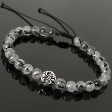 Mens Women Braided Bracelet Black Rutilated Quartz Sterling Silver Fleur de Lis